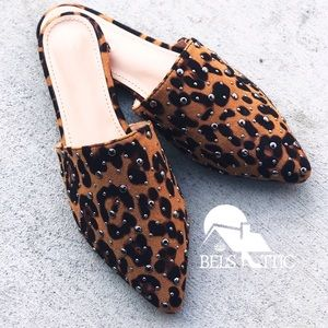 Shoes - Leopard Animal Print Pointed Mule Flats